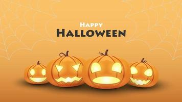 Halloween background, Pumpkin halloween set different emotion, vector illustration