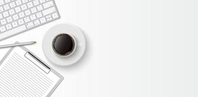 Flat lay minimal work space, top view office desk with computer keyboard, clipboard and coffee cup on white color background with copy space, vector illustration
