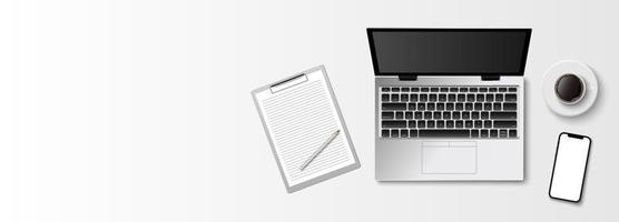 Flat lay minimal work space, top view office desk with computer laptop, clipboard and coffee cup on white color background with copy space, vector illustration