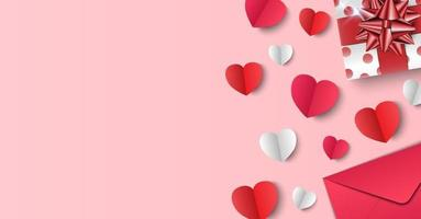 Valentine's Day background, gifts, envelope and paper hearts on pink background, vector illustration