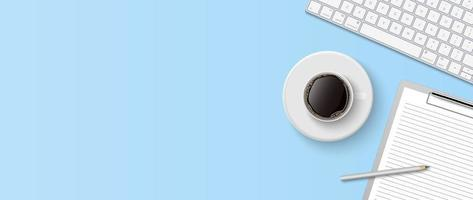 Flat lay minimal work space, Top view office desk with computer keyboard, clipboard and coffee cup on blue color background with copy space, vector illustration