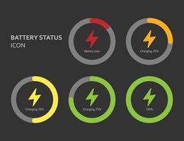 icono de diseño plano de estado de la batería, ilustración vectorial vector
