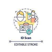 icono de concepto de escaneo de identificación vector