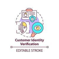 icono del concepto de verificación de identidad del cliente vector