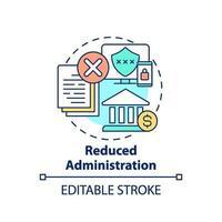 icono de concepto de administración reducida vector