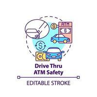 Conducir a través del icono del concepto de seguridad de cajeros automáticos vector