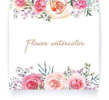Watercolor wedding invitation design with flower 3 vector