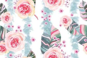 Seamless pattern of Blooming flowers with watercolor 16 vector