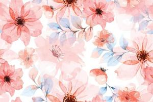 Seamless pattern of Blooming flowers with watercolor 14 vector