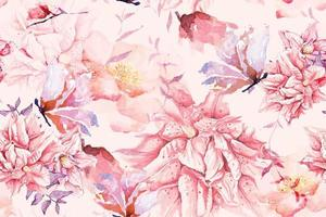Seamless pattern of Blooming flowers with watercolor 13 vector