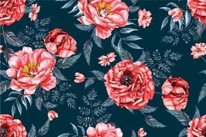 Peony seamless pattern with watercolor 6 vector