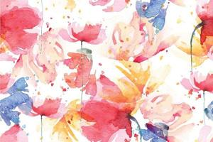 poppies seamless pattern with watercolor 3 vector