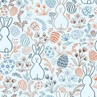 Easter holday seamless pattern. Spring gentle background with easter eggs and bunny. Happy Easter tile wallpaper vector