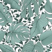 Floral leaves seamless pattern. Foliage garden background. Floral ornamenal tropical nature summer palm leaves decorative retro style wallpaper vector