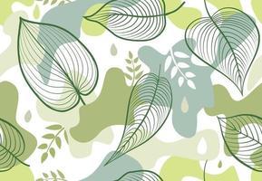 de patrones sin fisuras con manchas de forma orgánica en estilo memphis. elegante papel tapiz floral pintado con hojas. fondo de azulejo de naturaleza de verano vector
