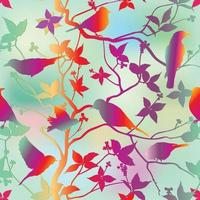 Birds silhouette on branch and  leaves in garden seamless background. Floral spring pattern. Nature stylish eastern ornamental illustration. vector