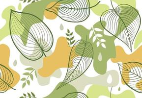 Seamless pattern with organic shape blots in memphis style. Stylish floral painted wallpaper with leaves. Summer nature tile background vector