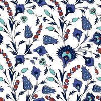 Floral seamless pattern in retro oriental ornamental style. Abstract ornamental flowers.  Flower background vector