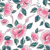 Floral seamless pattern. Flowers with leaves ornamental background. Flourish nature garden texture vector