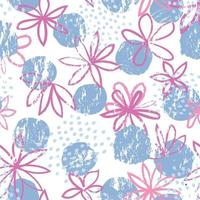 Abstract floral seamless pattern with Polka dot ornament. Stylish drawn dotted backdrop with flowers. vector