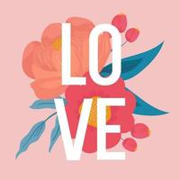 Love text poster with flower vector