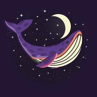 Colorful illustration portrait of cute whale in space with moon and stars. Hand drawn wild animal. vector