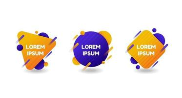 Abstract geometric shapes badges set with place for text, gradient shapes isolated on white background,  vector illustration