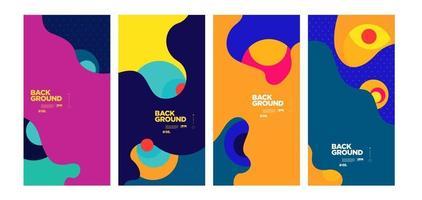 vector colorido abstracto geométrico y cartel de curva