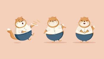 Ilustración de vector plano de gatos divertidos