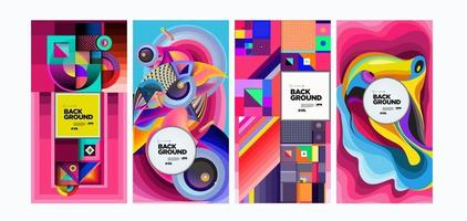 Vector colorful abstract liquid geometric ethnic background banner