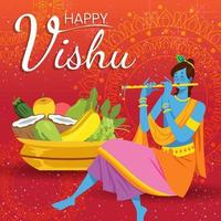 Flat Happy Vishu Concept vector