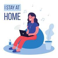 woman listening to music on laptop in quarantine illustration vector