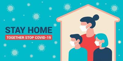 Family stays home flat design  background vector