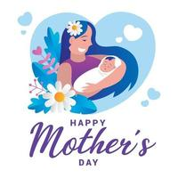 Happy Mothers Day flat design background vector
