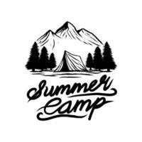 Ilustración de vector de camping de verano de aventura