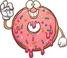 rosquilla rosa de dibujos animados vector