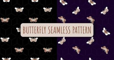 Seamless pattern with butterfly on black background vector
