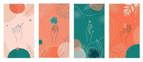 Social media stories set, abstract modern backgrounds with colorful combination of shapes, tropical palm, hands icons. vector