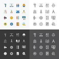 Los iconos de silueta de ingeniería y fabricación establecen vector de diseño de línea plana delgada