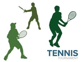 tennis playing sports silhouette illustration graphic vector