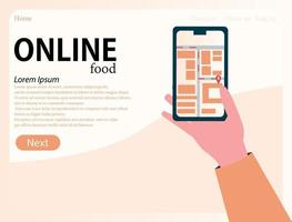 Grocery delivery at home and smartphone app. Online store, sale via the Internet, ordering products from a mobile phone. Hand holds a phone landing page vector
