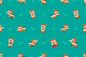 Cartoon character yorkshire terrier dog seamless pattern vector