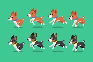 Vector cartoon character basenji dogs running