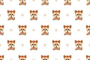 Vector cartoon character yorkshire terrier dog seamless pattern