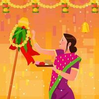 una mujer reza durante una celebración de gudi padwa vector