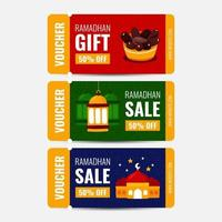 Ramadhan Voucher Gift with Colorful Background vector