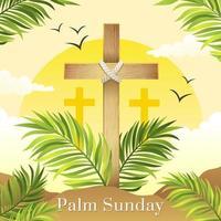domingo de ramos con cruz y hojas de palmera vector