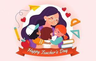 feliz dia del maestro de estudiante a maestro vector