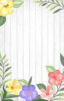 flores de colores sobre tabla de madera vector