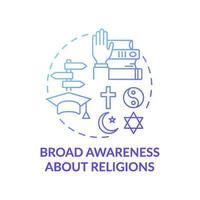 Amplia conciencia sobre la religión icono azul degradado concepto vector